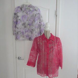 Dunner Lot 2 Blouses Rose Pink Lilac Button Down